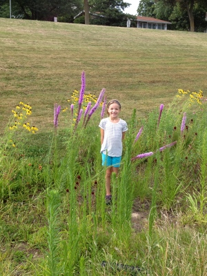 Rain garden plants taller than an incoming 4th grader.