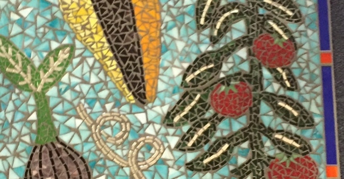 This fabulous garden mosaic will be installed on a wall of the new VHE/Hamilton library addition!